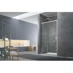 Tex Set complet Porte de douche coulissante verre transparent Easy Clean, glissières silencieuses 100x195cm (TEXD100CRT02)