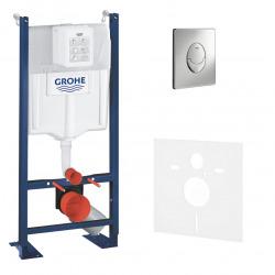 Grohe Pack WC Bâti autoportant avec Plaque Skate Air chromée et Set d'isolation phonique (Project-2)