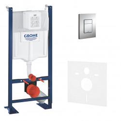 Pack WC Bâti autoportant avec Plaque chromée et Set d'isolation phonique (Project-1)