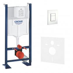 Grohe Pack WC Bâti autoportant avec Plaque Skate Cosmopolitan blanche et Set d'isolation phonique (Project-4)
