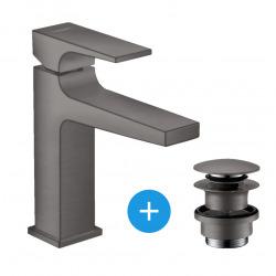 Hansgrohe Metropol Mitigeur de lavabo 110 poignée manette, bonde Push-Open, Noir Chromé brossé (32507340)