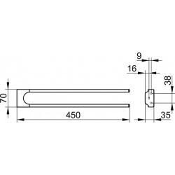 Moll Porte-serviette à 2 bras, Fixe, Fixation murale, Chrome (12718010000)