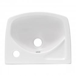 Lave-main avec 35x28 cm trou robinetterie à droite et trop-plein, Blanc (EUR913)
