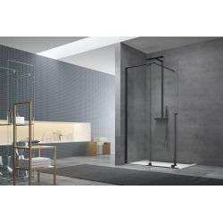 Walk-in X Motion Set complet Porte de douche coulissante verre transparent Easy Clean 120x200cm, montage Noir (WIXM120ZAV1CN)