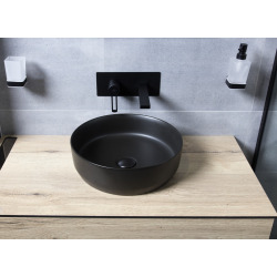 Vasque à poser Infinitio 39 x 39 x 12 cm sans trop-plein, noir (SATINF3939BKM)
