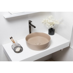 Vasque à poser Infinitio 39 x 39 x 12 cm sans trop-plein, marron mat (SATINF3939LBRM)