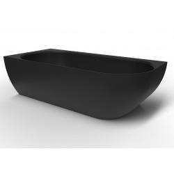 Baignoire d'angle gauche Nelly 175x82 cm marbre coulé, noir (SATNEL1700LC)