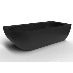 Baignoire d'angle droit Nelly 175x82 cm marbre coulé, Noir (SATNEL1700PC)