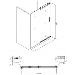 T-Linea Porte coulissante de douche verre trempé Easy Clean 120x200cm, Ouverture gauche à droite (TLDNEW120L03)