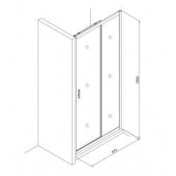 Tex Set complet Porte de douche coulissante verre transparent Easy Clean, glissières silencieuses 100x195cm (TEXD100CRT01)