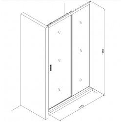 Tex Set complet Porte de douche coulissante verre transparent Easy Clean, glissières silencieuses 120x195cm (TEXD120CRT01)