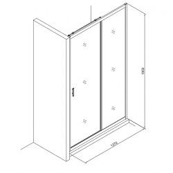 Tex Set complet Porte de douche coulissante verre transparent Easy Clean, glissières silencieuses 140x195cm (TEXD140CRT02)