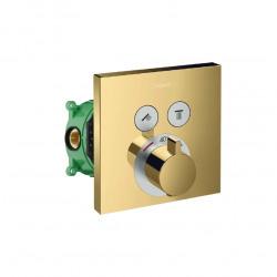 ShowerSelect Set de finition pour mitigeur thermostatique encastré, Aspect Doré poli + Corps d'encastrement (15763990-SET)