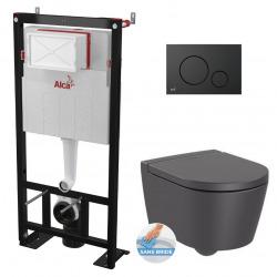 Pack WC Bâti autoportant avec Cuvette Roca Inspira rimless fixations invisibles + Abattant + Plaque noire mat (AlcaInspiraO-2)
