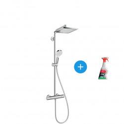 Showerpipe Crometta E 240 Colonne de douche + Douchette à main + Mitigeur + Spray nettoyant pour surfaces chromées (27271000*)
