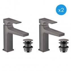 Metropol Lot de 2 mitigeurs de lavabo avec bonde Push-Open, Noir Chromé brossé (32507340-DUO)