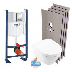 Pack WC Bâti autoportant + Cuvette Architectura sans bride + Plaque chrome + Set habillage (HProjectArchitectura2-1)