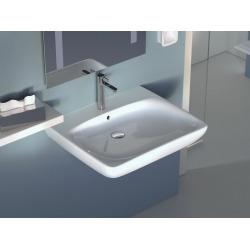 Selnova Comfort Lavabo PMR 550x550 mm avec perçage pour robinetterie + trop-plein, Blanc (500.302.01.1)