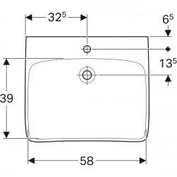 Selnova Comfort Lavabo PMR 650x550 mm avec perçage pour robinetterie, Blanc (500.188.01.1)