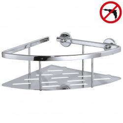 Aluxx Panier d'angle avec plateau en aluminium chromé inoxydable, pose facile sans perçage, (40203-00000-00)