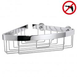 Aluxx Panier d'angle avec bord large, en aluminium chromé inoxydable, pose facile sans perçage, (40209-00000-00)