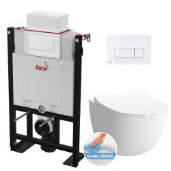 Pack WC Bâti autoportant + WC Vitra Sento sans bride et fixations invisibles + Plaque blanche (Alca85Sento-4)