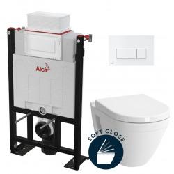 Pack WC Bâti autoportant + WC Vitra S50 + Abattant softclose + Plaque blanche (Alca85S50-4)