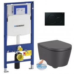 Pack WC Bâti-support Cuvette Roca Inspira sans bride fixations invisibles + Abattant softclose + Plaque noire (GebInspira0-A)