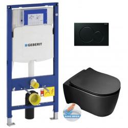 Pack WC Bâti-support avec Cuvette AL010BL rimless fixations invisibles + Abattant softclose + Plaque noir (GebBlackAlfa-A)