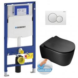 Pack WC Bâti-support avec Cuvette Alfa sans bride + Abattant Softclose + Plaque noir foncé (GebBlackAlfa-B)