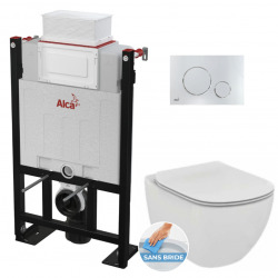 Pack WC Bâti 85 cm autoportant + WC Ideal Standard AquaBlade sans bride + Plaque chrome brillant (Alca85FTesi-8)