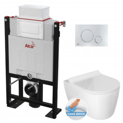Pack WC Bâti 85 cm autoportant + WC Idevit Alfa sans bride fixations invisibles + Plaque chrome brillant (Alca85FAlfa-5)