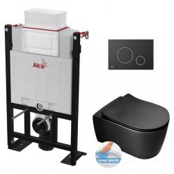 Pack WC Bâti 85 cm autoportant + Cuvette noire mat Idevit Alfa sans bride + Plaque noire mat (Alca85FBAlfa-7)