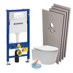 Pack WC bâti-support + WC Swiss Aqua Technologies sans bride + plaque blanche + Set habillage (HSATrimlessGeb1)