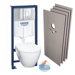 Nouveau Pack Bati WC Grohe RIMLESS + Set habillage (H39186rimless)