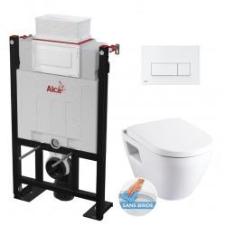 Pack WC Bâti autoportant avec cuvette Serel SM26 sans bride + Abattant softclose + Plaque blanche (Alca85FSM26-4)