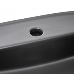 Infinitio Vasque à poser 60x40 cm, sans trop-plein, avec trou pour robinetterie, Noir mat (SATINF6040BKM)