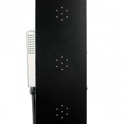 Colonne de douche murale avec mitigeur 4 fonctions, cascade et jets massants, noir (ALUSHOWERC)