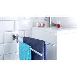 Hukk Porte-serviettes 2 barres, métal chromé, pose facile sans perçage (40249-00000-00)