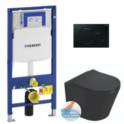 Pack WC Bâti-support+ WC Swiss Aqua Technologies Infinitio noire sans bride + Plaque noire foncée (GebBlackInfinitio-A)
