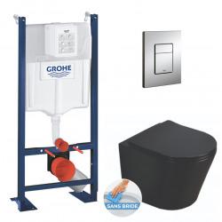 Pack WC Bâti autoportant + WC Swiss Aqua Technologies Infinitio noir sans bride + Plaque chrome (ProjectBlackInfinitio-1)