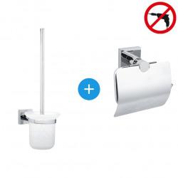 Hukk Set Dérouleur avec couvercle en acier inoxydable + Brosse WC, pose facile sans perçage, Chrome (40247-DUOTESA)