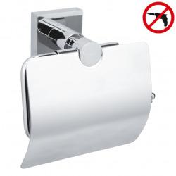 Hukk Lot Dérouleur avec couvercle + Brosse WC + Crochet serviettes, pose facile sans perçage, Chrome (40247-TRIOTESA)