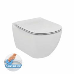 Pack WC Bâti-support + Cuvette Ideal Standard TESI AquaBlade sans bride fixations invisibles + Plaque blanche (ViConnectTesi-2)
