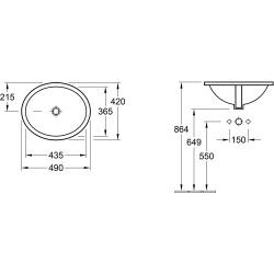 O.Novo Vasque à encastrer 43,5x36,5mm, avec trop-plein, sans trou pour robinetterie, Blanc (4A304301)