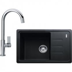 Sety Kit évier avec égouttoir réversible (BSG 611-62) en fragranite , Graphite + Mitigeur FP 0408.031, Chrome (114.0440.622)