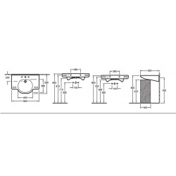 O.Novo Vita Lavabo suspendu 800x550mm, sans trop-plein, 3 trous pour robinetterie, Blanc (41208301)