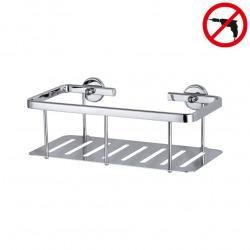 Aluxx Panier de douche 9,2x25x12,5cm, Pose facile sans perçage, Aluminium, Chrome brillant (40202-00000-00)