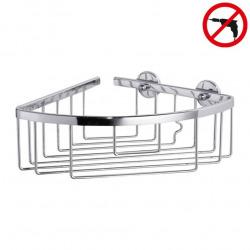 Aluxx Panier de douche d'angle en aluminium chromé inoxydable 9,2x19,2x20cm, Pose facile sans perçage (40200-00000-00)