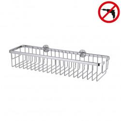 Aluxx Pannier de bain/douche en aluminium chromé inoxydable 45x12,5 cm, Pose facile sans perçage (40206-00000-00)